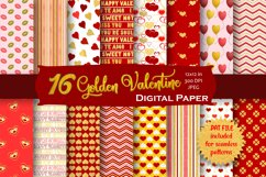 Gold Valentine Digital Paper Pack Product Image 1
