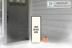 Halloween Porch Sign Mockup, A Vertical Porch Sign Mock-up Product Image 1