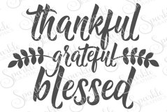 Thankful Grateful Blessed Cut File Set | SVG, EPS, DXF, PNG Product Image 1