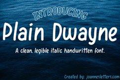 Plain Dwayne | A clean, legible italic handwritten font Product Image 1