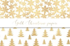 Gold Christmas digital paper, seamless pattern Product Image 4
