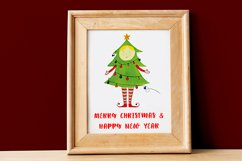 Watercolor Christmas elf with a Christmas tree Product Image 4