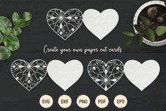 Mandala heart paper cut template | SVG layered hearts bundle Product Image 3