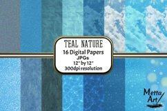Teal Nature - 16 Digital Papers/Backgrounds Product Image 1
