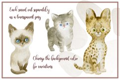 Furry friends. Kittens. Watercolor clip arts Product Image 3