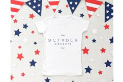 4th of July White T-shirt Mockup in PSD and JPG | SVG mockup Product Image 2