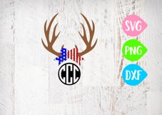 Antler Svg, America Svg, American Svg, Flag Svg, USA Antlers, 4th of July Bow, Red white and Blue Bow, Fourth of July Product Image 1