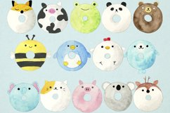 Watercolor Donuts Clipart, Animal Donuts Clipart, Doughnuts Product Image 2