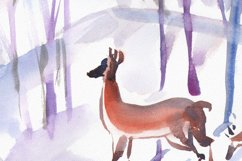 Watercolor illustration. Two roe deers in the winter forest Product Image 2