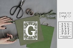 Floral frame letter G, single initial paper cut, wedding SVG Product Image 1