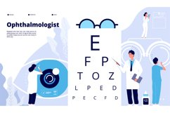 Ophthalmology landing. Ophthalmologist checks patient sight. Product Image 1