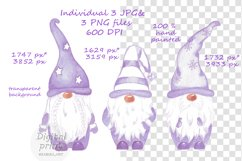 Watercolor Scandinavian purple gnome clipart Product Image 2