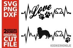 2x Kooikerhondje Bundle svg, Dog svg, Heartbeat svg, Love Product Image 1