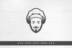 Chef man face icon silhouette isolated on white background Product Image 1