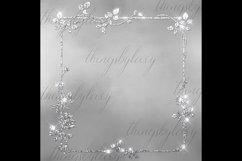 254 Glitter Leaf Branch Border Frame Clip Art Bridal Shower Product Image 3