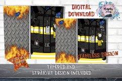 20oz|Yellow| Black Fireman Split| Sublimation Tumbler Wrap Product Image 2