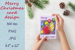 Christmas card template. Xmas card design with baubles Product Image 1