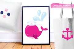 Nautical Whales graphics and illustrations Product Image 5