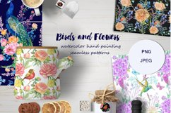 Peacocks Seamless Pattern,floral Watercolor Digital paper Product Image 1