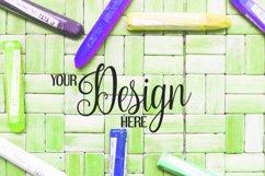Crayons on rattan background | Flat photo mock up bundle Product Image 2