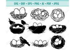 Bird Nest Svg, Birds clipart Png, Bird Eggs Dxf, Png, Eps Product Image 1