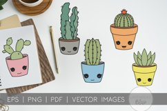 Succulent Pack | Vector succulents & Cactus Kawaii Images Product Image 4