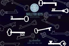 Skeleton Keys White | Hand Drawn Victorian Heart Door Lock Product Image 1