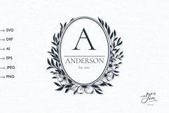 Wedding monogram frame SVG Family monogram floral frame svg Product Image 1