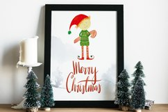 Watercolor Christmas elf with a candy Product Image 2