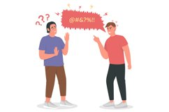 Arguing men flat color vector detailed character Product Image 1