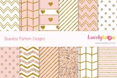 Gold and Peach feminine seamless pattern backgrounds Product Image 1