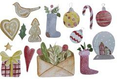 Christmas watercolor digital clipart, winter, lollipop Product Image 2