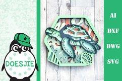 Sea turtle layered multi layer mandala sea nautical 3d svg Product Image 1
