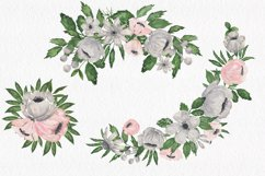 Gray and Pink Blooming. Watercolour clipart collection. Product Image 6