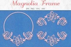 Magnolia Frame SVG, Floral Clipart, Flower Wreath Product Image 1