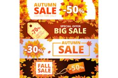 Autumn sale banner set, cartoon style Product Image 1