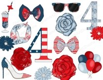 4th of July CLIPART Independence Day USA American Girl - PNG Product Image 3