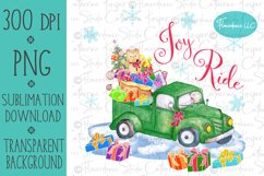 Joy Ride, Teddy Bear Truck PNG Christmas Sublimation Design Product Image 1