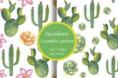 Watercolor succulents seamless pattern Cactus digital paper Product Image 1