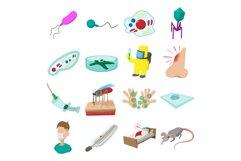 Virus cartoon icons set Product Image 1