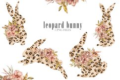 Easter sublimation. Watercolor leopard bunnies clipart. Product Image 1
