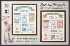 BIRTH ANNOUNCEMENT template|GOOGLE edit|Baby Stats printable Product Image 1