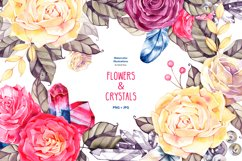 Watercolor boho flowers and crystals Product Image 1