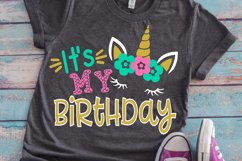 Birthday unicorn girl shirt svg Product Image 1