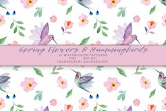 Flowers & Hummingbirds Seamless Patterns Product Image 4
