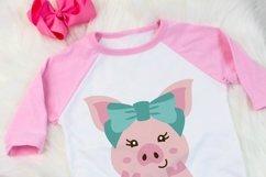 Pig with bow svg, girls farm animal digital art Product Image 2