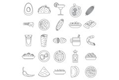Healthy mexican food icon set, outline style Product Image 1