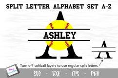 Split Letters A-Z - 26 Split Monogram Softball SVG alphabet Product Image 1