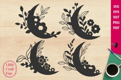 Crescent Cute Flowers Svg Product Image 1