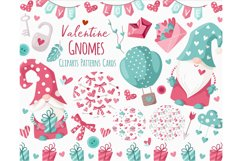 Valentine Gnomes - clipart and digital paper Product Image 1